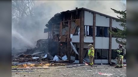 'Explosion' & huge fire in Harrisonburg, Virginia leaves at least three injured