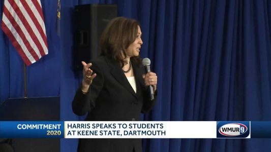 Kamala Harris speaks to students at Keene State, Dartmouth