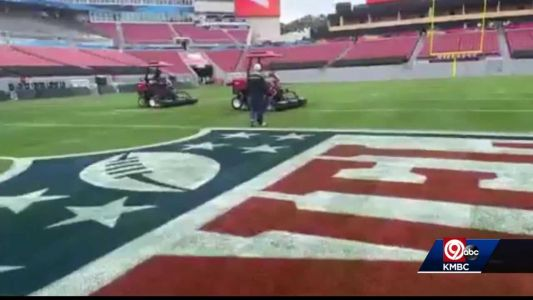 Groundskeeper George Toma, 91, preps field for Super Bowl LV