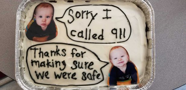 Waukee PD receives apology cake after baby accidentally called 911