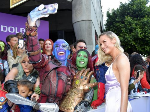 'Avengers' stars Brie Larson and Scarlett Johansson wore jewelry designed to look like the Infinity Gauntlet at the 'Endgame' premiere