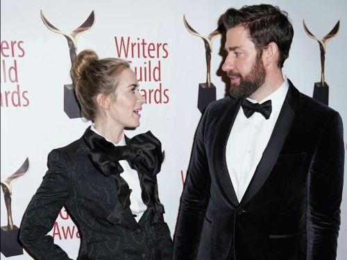 Emily Blunt and John Krasinski took their couple style to the next level in matching black tuxedos