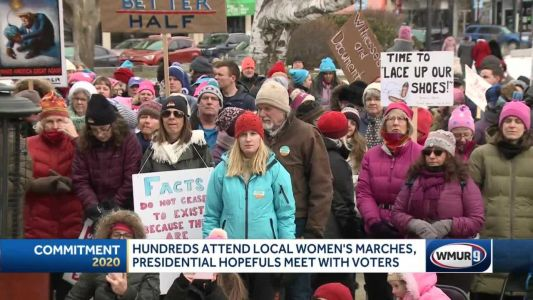 Presidential candidates among hundreds attending women's marches in NH