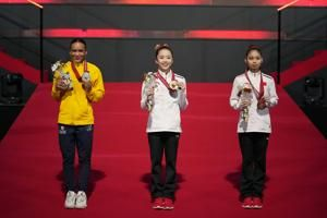 Olympic vault champ Rebeca Andrade wins 2 medals at worlds