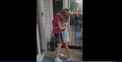 Sweet Reunion: Grandma gets first hug in months