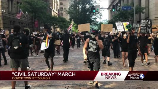 BLM protesters march through Market Square as part of 'Civil Saturdays'