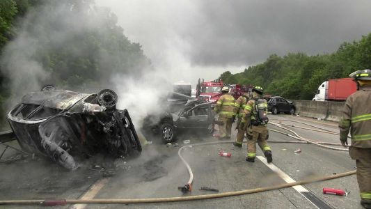 Man dies from injuries after fiery wreck, coroner says