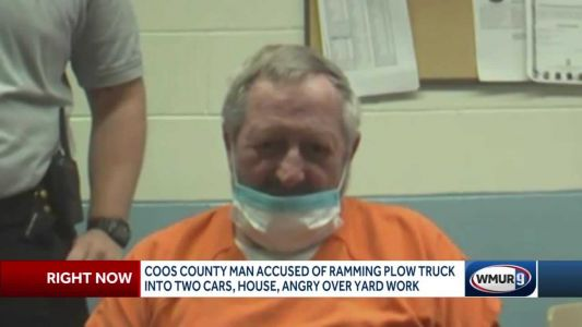 Man accused of ramming plow truck into cars, home