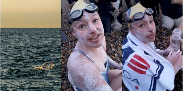 An American cancer survivor has become the first person to swim the English Channel four times nonstop