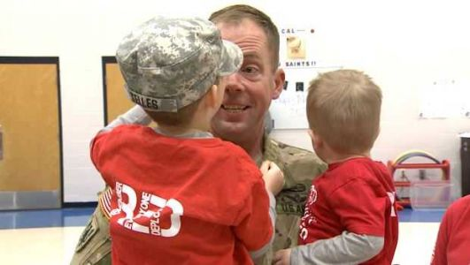 SURPRISE! Military dad reunited with 4-year old son after serving overseas