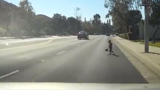Frightening video: Toddler chasing ball in busy street rescued by retired officer