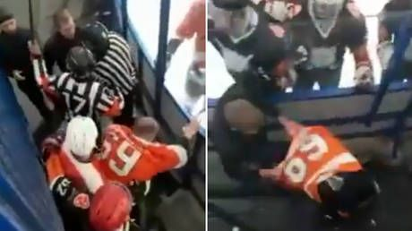WATCH: Russian ice hockey player brawls with fan in shocking scenes at amateur match