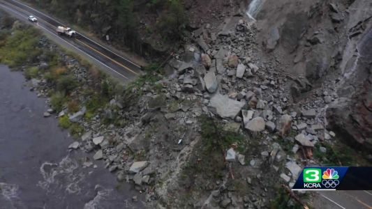 Drone video shows rockslide covering California highway
