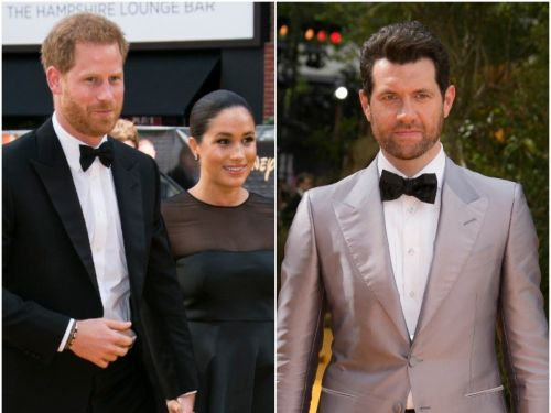 Video shows nervous 'The Lion King' star Billy Eichner rehearsing his greeting for Meghan Markle and Prince Harry before meeting them