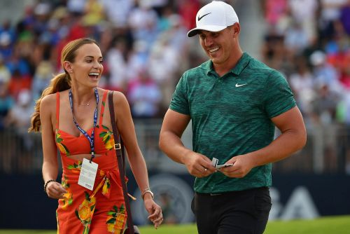 Brooks Koepka shuts down Jena Sims' kiss at PGA Championship