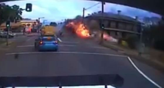 Crazy video shows stolen semi truck plowing through building, erupting into fireball