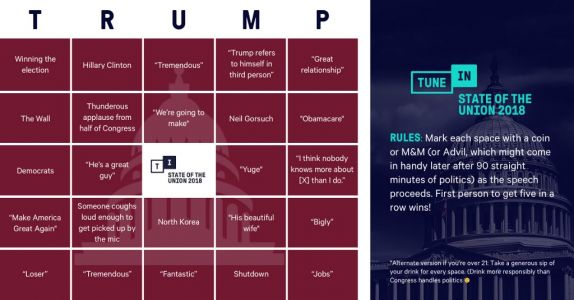Here's Your Official 2018 State Of The Union Bingo Card