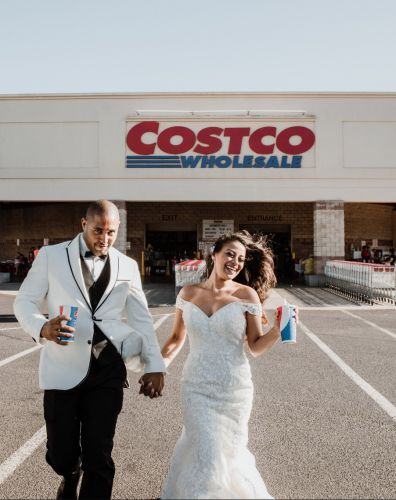 Couple takes wedding photos in Costco aisle where they met