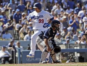 Ryu has 3 of Dodgers' 16 hits in 14-0 rout of Padres