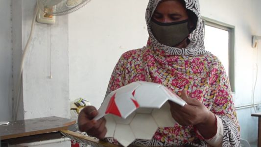 Almost 70% of the world's soccer balls are made in one city in Pakistan -here's what it's like inside one of the factories