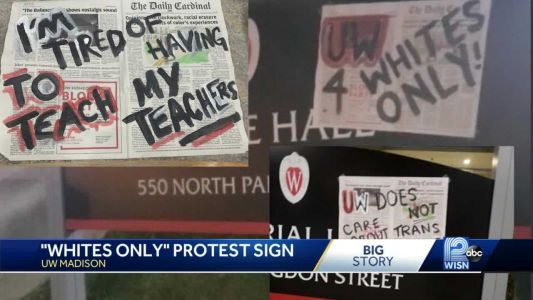 'UW 4 Whites Only' poster appears on UW-Madison campus