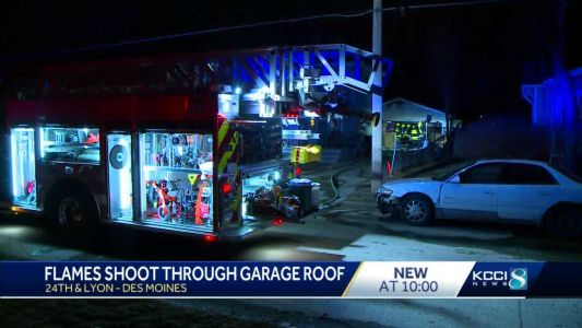 Watch: Flames shoot through Des Moines garage's roof