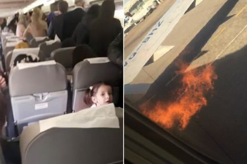 Passengers reportedly open plane's emergency exit to flee flames