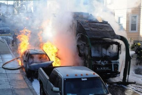 Recycling truck catches fire, damaging nearby homes and vehicles