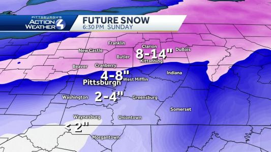 Latest snow total projections for major weekend storm expected to hit Pittsburgh