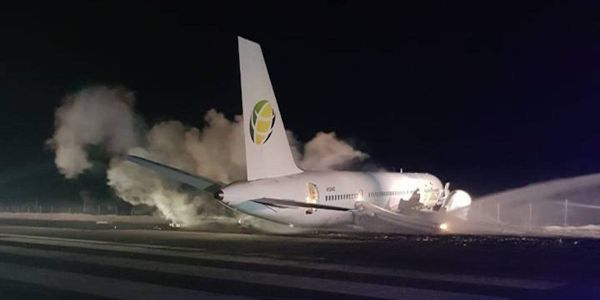 A Fly Jamaica Boeing 757 crash-lands at a Guyana airport, injuring 6 people