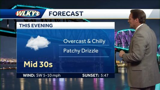Overcast and chilly, patchy drizzle