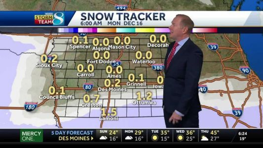 Tracking incoming system expected to bring snow to southern Iowa