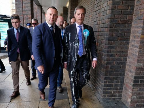 Nigel Farage was trapped on a bus after people tried to hit him with milkshakes