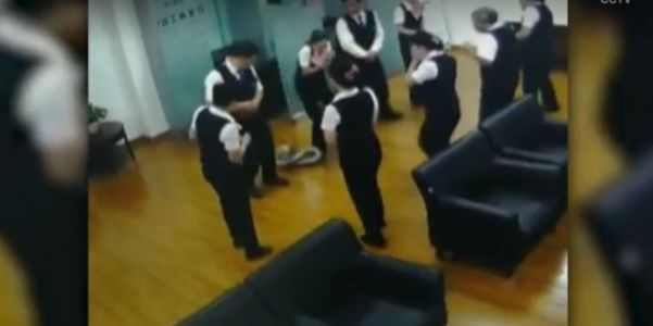 Watch: Python falls from ceiling of bank during staff meeting