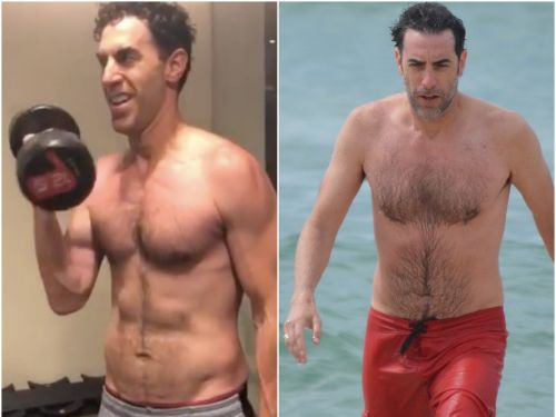 Sacha Baron Cohen showed off a crazy body transformation in a workout video posted by his wife