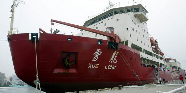 A Chinese icebreaker ship crashed into an iceberg at the South Pole