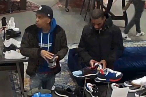 Cops hunting for men who robbed hotels, then went shoe shopping