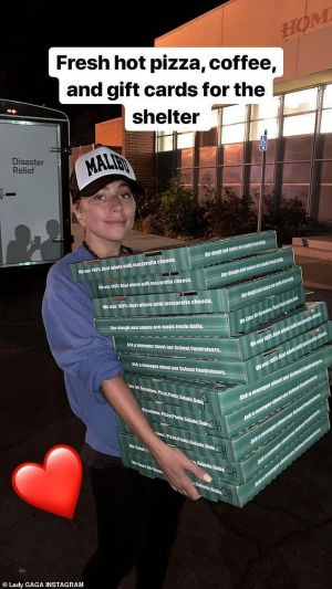 Lady Gaga delivers pizza, coffee, gift cards to California wildfire evacuation shelter