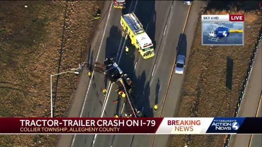 Tractor-trailer overturns on I-79 in Collier Township; all lanes closed