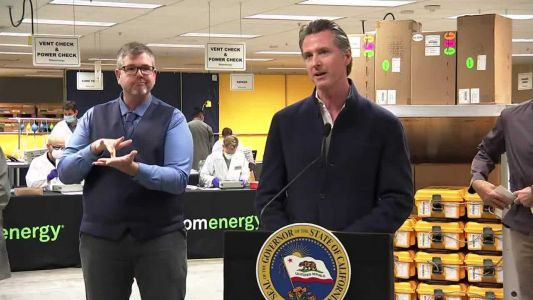 Gov. Newsom visits Bay Area ventilator refurbishment facility