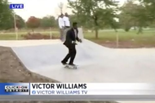 Reporter stuns viewers on air as he skateboards through live segment