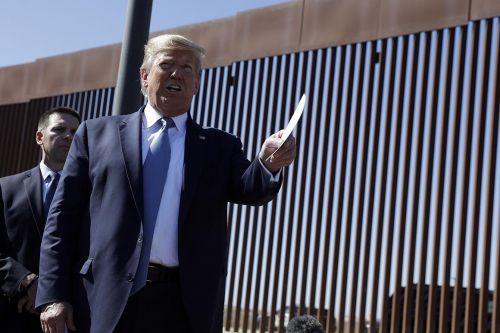 Trump visits border to tout wall construction