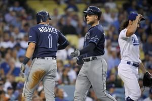Meadows homers in 11th, Rays rally past Dodgers 8-7