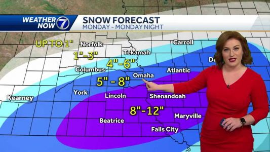 Cloudy and cool Sunday, Heavy Snow Monday