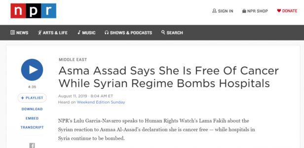 NPR Mocks Cancer Survivor in Drumbeat of Syria Propaganda