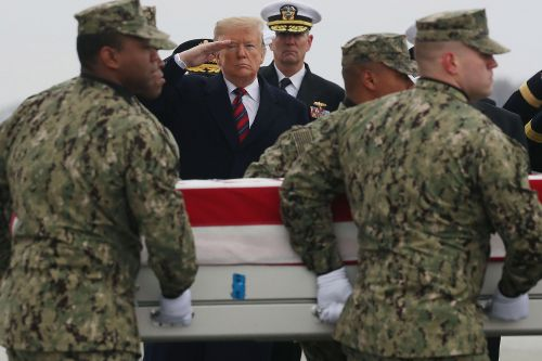 Trump attends ceremony for ISIS attack victims