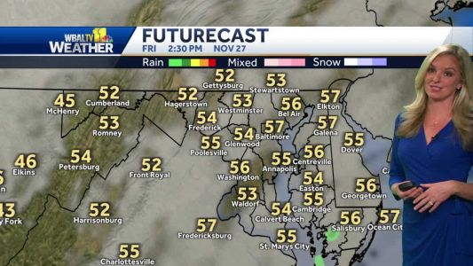 Dry Friday with temps around 60