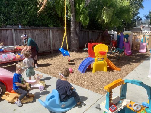 California day care provides face shields for their kids