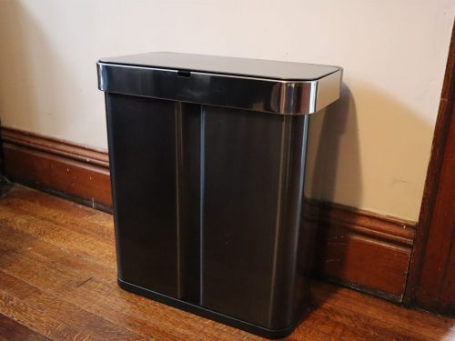 This voice- and motion-activated trash can keeps my hands free of germs as it collects my garbage