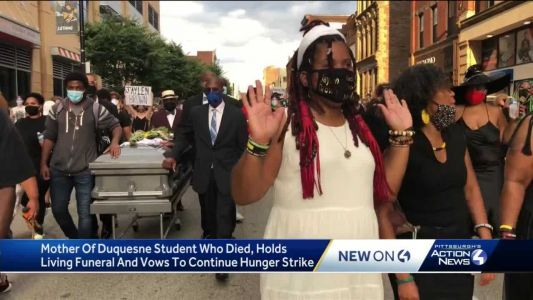 Mother of Duquesne student who died holds 'living funeral,' says hunger strike continues